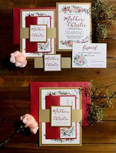 Red, Crimson, Gold, White Wedding Invitation Belly Band, Gold and Red Invitation, Gold Wedding Invitation, Floral Watercolor