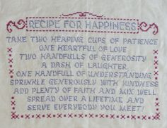 Jane Snead Samplers Vintage Cross Stitch Embroidery Kit 487 Recipe for Happiness