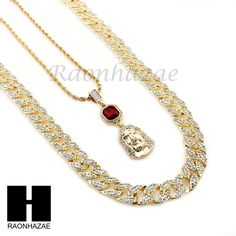 MENS ICED OUT LAB DIAMOND GOLD CUBAN CHAIN RED RUBY JESUS COMBO 2 NECKLACES SET1 #Raonhazae #Necklace