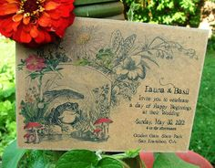 Garden wedding invite, unique Woodland wedding invitation mushroom storybook deposit to begin on Etsy, £4.13