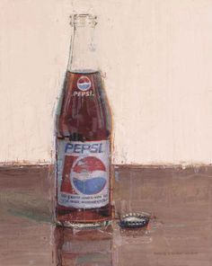 """Pepsi 10"""" x 8"""" Original Oil Painting by Dianne Massey Dunbar.  Available at RS Hanna Gallery, Fredericksburg, TX.   Dianne Massey Dunbar says, """"I love to paint!  Every painting is an adventure, with opportunities and challenges.  A few works paint themselves, seemingly effortlessly.  Other paintings yield an almost life and death struggle.  Whatever the outcome, I always learn something.  It is intoxicating.  It is unpredictable.  Painting for me is an ongoing process of discovery."""""""