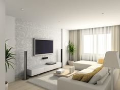 modern living room tv. Surprsing Small Apartment Living Room Ideas With Modern White Sofa Sets And Chic Wall Pattern Art Hanging TV Tv