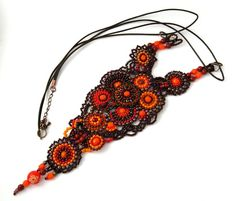 Beadwork, Seed Bead jewelry, Seed Bead Necklace, Beadwork Necklace, Orange and brown, OOAK