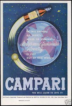 www.vintageadbrowser.com  Campari Aperitif Wine Space Bottle Rocket Art (1963)