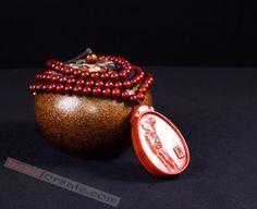 108 Red Sandalwood Mala Beads With Guan Yu Pendant