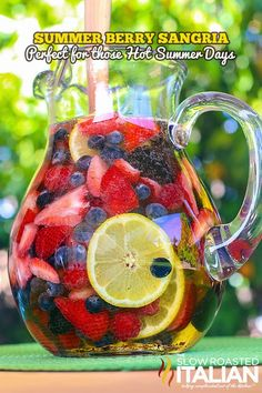 Summer Berry Sangria from theslowroateditalian.com  #summer #cocktail #recipe