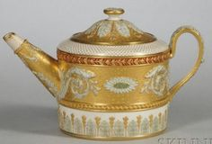 Wedgewood Victorian Ware Teapot And Cover, Cream Glazed Body Heavily Gilded And With Pale Green Tinted Relief Of Scrolled Foliage, Floral Festoons, Acanthus Leaves And Florets, A Red Enamel Band Below The Shoulder, Impressed Mark - England   c.1840-1900  -  Prices4Antiques