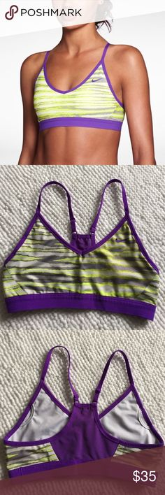 """Nike💙Indy Padded Sports Bra Strappy Electric Med 💕 Lovely Nike Indy classic sports bra with adjustable straps💕Slots for removable padding that is provided upon request!   Purple Strappy design """"electric"""" pattern that is super hard to find and has always been a best seller.   Size m, EUC no flaws  Bundle and save✅ 🚫trades! Nike Intimates & Sleepwear Bras"""