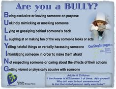 "Bullying is a learned behavior and used to be brushed aside with anecdotes ""Kids being kids"". Well meaning parents would tell their tormented child ""toughen up and fight back."" Those reactions are outdated and inappropriate. Bullies prey on the perceived weakness  or pain of another. They feed on it possible because they may have witnessed or experienced abuse by others themselves. It is a perpetual cycle that needs to be broken ...by you ...right now."