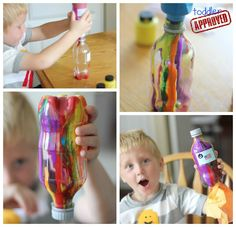 these mess-free pour paint rockets look like a great indoor activity for rainy or cold winter days