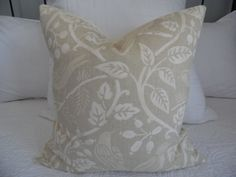 Birdseye Natural cream, vanilla, light tan Birds, Leaves Fall Pillow cover. Fall Pillow covers. Product ID# P0145 by GamGamzhandcrafted on Etsy #Vanilla#birds#leaves#pillowsfordays#pillowcoversforsale