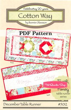 December Table Runner in Cotton Way's Fresh and Fancy Table Runner Series! Sew for #christmas