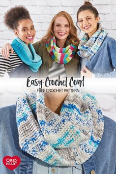 Easy Crochet Cowl free crochet pattern in Super Saver Fair Isle yarn. The colors of Super Saver Fair Isle yarn change as you crochet! This cowl is made in a tube, making it even more warm and cozy! Christmas Crochet Patterns, Easy Crochet Patterns, Scarf Patterns, Crochet Ornaments, Crochet Snowflakes, Crochet Christmas, Dishcloth Knitting Patterns, Knit Dishcloth, Crochet Scarves