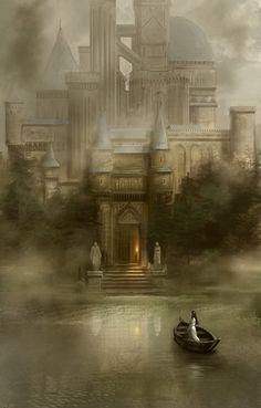 A fantasy world Dark Fantasy, Fantasy City, Fantasy Castle, Fantasy Places, Fantasy World, Fairytale Castle, The Lady Of Shalott, Creation Art, Fantasy Setting