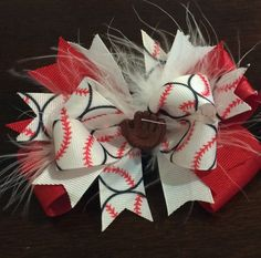 Red & white baseball bowtique bow by LaceysBowtiqueCo on Etsy