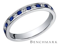 Benchmark+Ladies+Sapphire+Eternity+Ring+with+Diamonds+3/10+Carat+(ctw)+in+14K+White+Gold