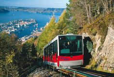 Funicular railroad to Mount Floyen, Bergen, Norway...Erik was 10, I was 35, and Mormor was 95.  We took the funicular to the top, and walked all the way back down!