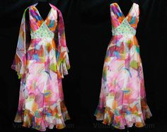 Size 4 Tropical Diva Dress - Summer Evening Gown - Glam Sleeveless Pink Orange White Floral Chiffon with Posh Beaded Waist 70s Glam, Floral Scarf, Summer Evening, Floral Chiffon, Ruffle Trim, A Line Skirts, Evening Gowns, Diva, Vintage Outfits