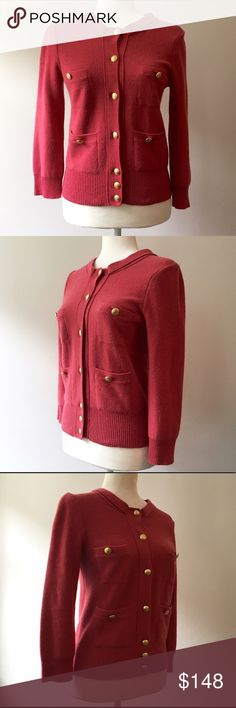 Juicy Couture Salmon & Gold Thick Knit Cardigan 🎁Offers welcome  🔑Bundle to save  👍Like for price drop notifications  EUC Juicy Couture Salmon & Gold Thick Knit Cardigan.   Large gold buttons, front tie detail, and 4 front pockets. Cashmere, cotton, and wool blend. True to size. Some button holes have been slightly widened but they still hold the buttons securely (see photos 6 & 7)  Perfect for adding a pop of color to your wardrobe!  ID0 Juicy Couture Sweaters Cardigans