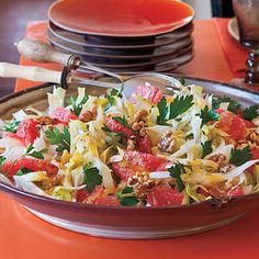 Citrus-Walnut Salad    Grapefruit adds sweet-tart flair to this salad of Belgian endive. Flavorful Cumin-Dijon Vinaigrette finishes off the fruity, nutty salad.