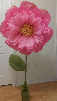 Giant standing paper FLOWERS/ to Tissue paper pom pom flowers**U pick colors & sizes**Wall Flowers**Photo prop**Aisle/Nursery decor by JJsFunNCreativeShop on Etsy Más Pom Pom Flowers, Large Paper Flowers, Tissue Paper Flowers, Giant Paper Flowers, Diy Flowers, Fabric Flowers, Tissue Paper Decorations, Crepe Paper Roses, Origami Flowers