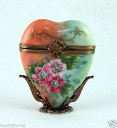 Have one to sell? Sell it yourself    NEW VALENTINES FRENCH LIMOGES BOX MULTICOLOR HEART W/ WILD ROSES ON ORNATE STAND