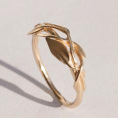 Leaves Ring No.2 - 14K Gold Ring, unisex ring, wedding ring, wedding band, leaf ring, filigree, antique, art nouveau, vintage