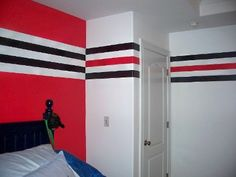 I Would Love To Have This Blackhawks Style Striping In Our Sports Room