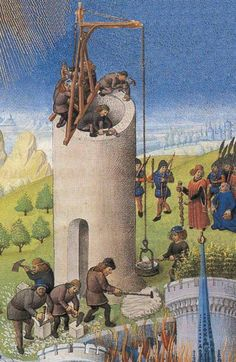 construction d'une tour, detail PLUNDERAGE OF TROY / ILLUMINATION 1480 French