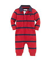 Baby Boys Rugby-Striped Coverall