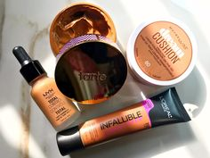 4 Foundations for Dry Skin: NYX Total Control Drop Foundation, Tarte Empowered Hybrid Gel Foundation, Maybelline Dream Cushion Fresh Face Liquid Foundation on the Go, L'Oreal Infallible Total Cover Foundation Review