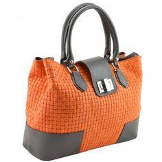 Italian Made, Genuine Leather Handbag - Sandra Orange Sky