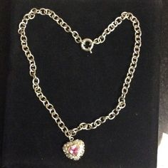 925 & 14k Chunky Heavy Necklace & Pink Heart Beautiful sterling silver 925 chunky necklace with oversized spring clasp. Note: Chunky big heart is not a locket, heart has 14k gold outline on pretty pink stone. This is a designer piece but I totally forgot who  if you happen to know, by all means please educate me. Thank you for stopping bye  Jewelry Necklaces