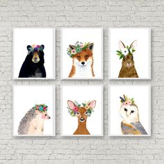 Woodland Nursery Art Set of Prints Animal Paintings by zuhalkanar