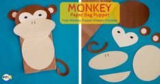 Monkey Paper Bag Puppet with Free Monkey Shapes Printable Easy Crafts For Kids, Craft Activities For Kids, Toddler Crafts, Kid Crafts, Monkey Template, Monkey Puppet, Free Monkey, Monkey Crafts, Five Little Monkeys