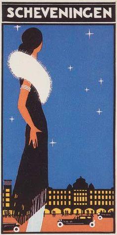 travel poster promoting Scheveningen, Holland, by Louis Christiaan Kalff (1897-1976), ca. 1931