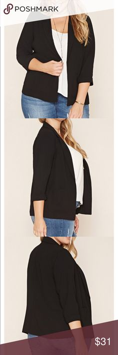 Plus size collared blazer in black. Forever 21 plus size collared blazer in black. New, never worn with tags and original shipping bag. Purchased online and could not return. Forever 21 Jackets & Coats Blazers