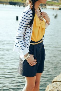 Striped cardigan, blue shorts and mustard yellow top