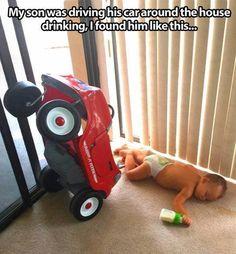 Don't drink and drive. Früh übt sich...