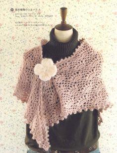 Shabby shawl with crochet pattern Crochet Tunic, Love Crochet, Knitted Shawls, Crochet Scarves, Crochet Clothes, Easy Crochet, Crochet Designs, Crochet Patterns, Pop Corn