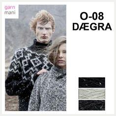 O-08 DÆGRA - Garnmani.no - Spesialist på islandsk garn Tweed, Knitting, Movie Posters, Movies, Fictional Characters, Black, Sweaters, Diy, Threading