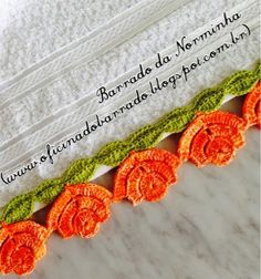 OFICINA DO BARRADO: Croche - Rosas alaranjadas para Barrar...
