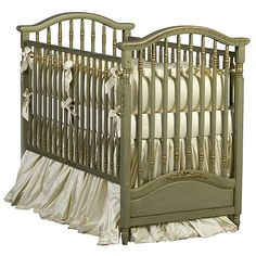 Gretels Antique Spindle Crib In Versailles Green Finish : All Baby Cribs at PoshTots