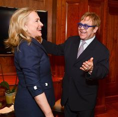 Check out the bows and 3/4 sleeves.. perfect jacket! (Hillary Clinton and Elton John)
