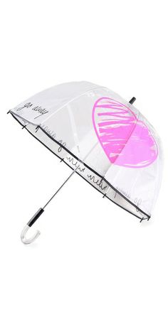Stay dry in this NYC rain with the Felix Rey 'Rain Rain Go Away' pink heart umbrella $65, get it here: http://rstyle.me/~dcLk
