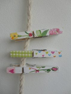 Decoupage clothespins using paper napkins. Brilliant!