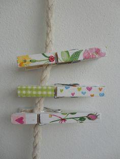 Decoupage clothespins using paper napkins. Brilliant!