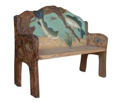 Fish Hand Painted Rustic Bench