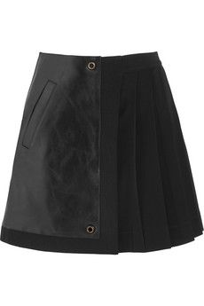 Leather and pleated stretch-crepe mini skirt