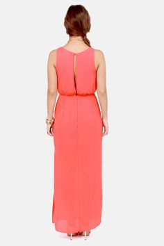 Pulling Your Leg Coral Maxi Dress at LuLus.com!